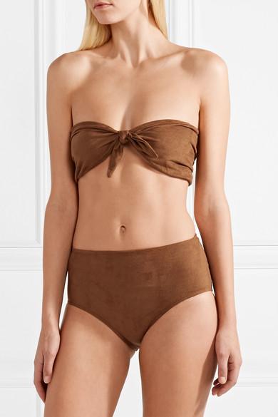 Miguelina Alanis Bandeau-Bikini aus Velourslederimitat