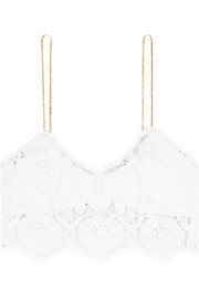 Zoe cropped metallic-trimmed crocheted cotton top