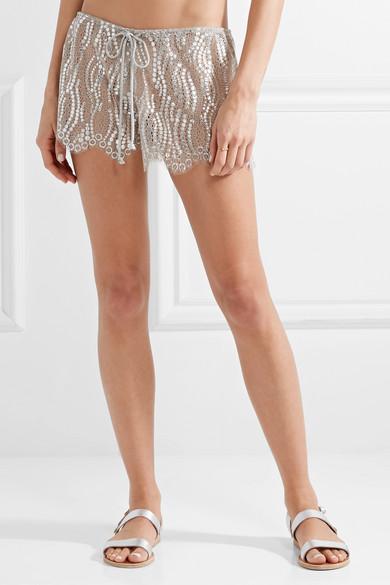 Miguelina Minnie Shorts aus Spitze mit Metallic-Effekt