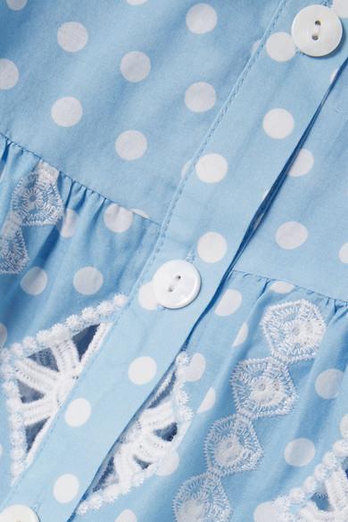 Miguelina Emy Minirock aus Baumwolle mit Lochstickerei und Polka-Dots