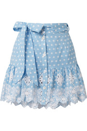 Emy broderie anglaise-trimmed polka-dot cotton mini skirt