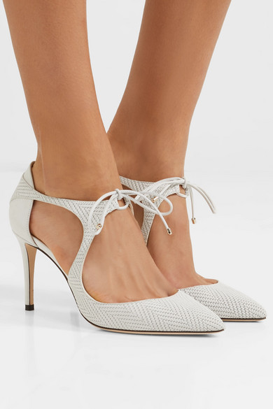 Jimmy Choo Embossed Leather Cutouts Pumps fake for sale 35Fa3A
