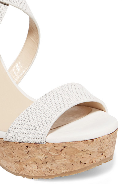 432cd7db5fc Jimmy Choo. Portia 120 woven leather wedge sandals.  262.50. Zoom In