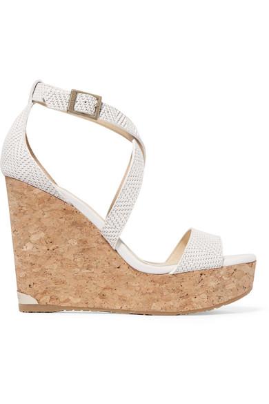 17bf15e14bd Jimmy Choo. Portia 120 woven leather wedge sandals