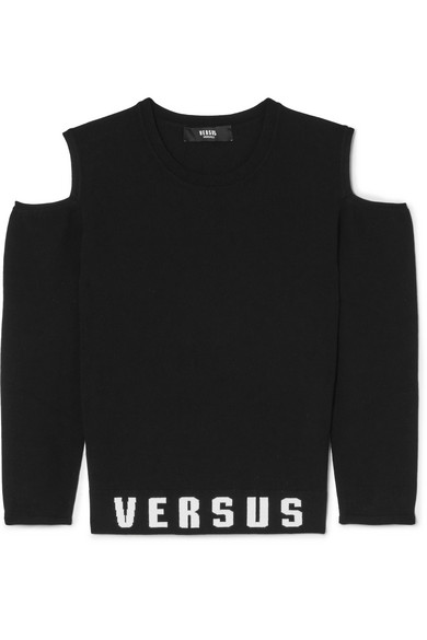 Versus Versace Bedrucktes Oberteil aus Stretch-Jersey mit Cut-outs