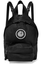 Embellished leather-trimmed shell backpack