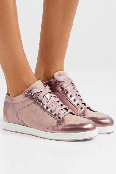 Jimmy Choo Miami Sneakers aus Metallic-Lackleder und Veloursleder Mit Mastercard Online-Verkauf Erschwinglich DkXQo