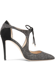 Vanessa 100 cutout textured-leather and suede pumps