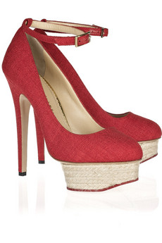 Charlotte Olympia | Dolores textured cotton platform pumps | NET-A-PORTER.COM from net-a-porter.com