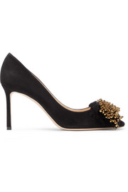 Thelma 85 beaded fringed suede pumps