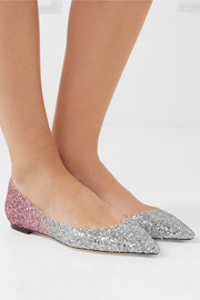 Jimmy Choo Romy degradé glittered leather point-toe flats