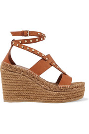 Jimmy Choo Denise 110 studded leather espadrille wedge sandals