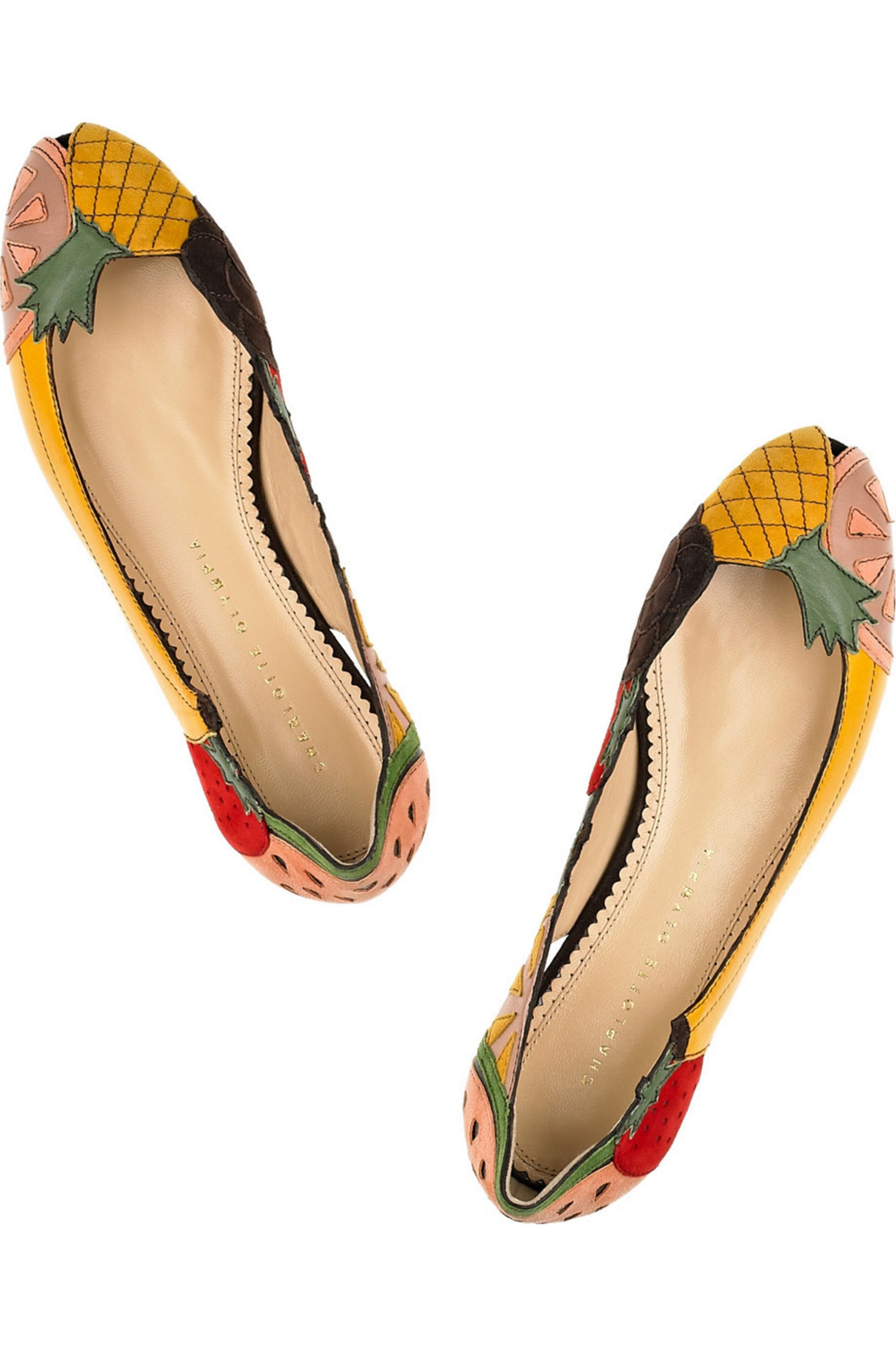 Charlotte Olympia Tutti Frutti leather and suede flats