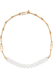 Aurélie Bidermann Cheyne Walk gold-plated pearl necklace