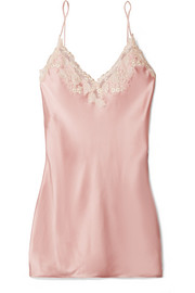 Maison lace-trimmed silk-blend satin chemise
