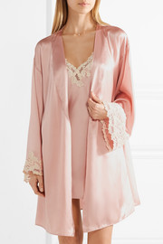 Maison lace-trimmed silk-blend satin robe