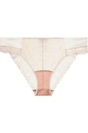 Marble Mood satin-trimmed embroidered printed stretch-tulle briefs