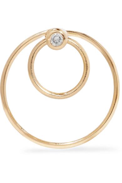 Hirotaka Tribal 18-karat Gold Diamond Hoop Earring PCYp4Wk