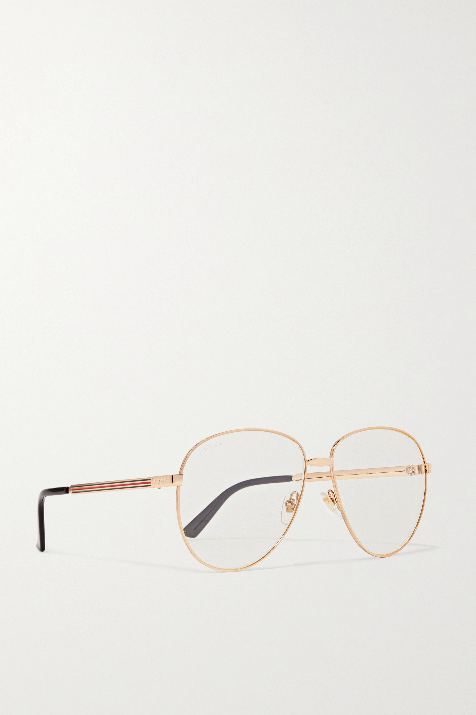 Gucci 金色金属飞行员光学眼镜