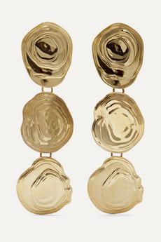 Leigh Miller. On The Halfshell gold-tone earrings