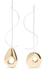 Hepworth Drop white bronze, gold-tone and silver earrings