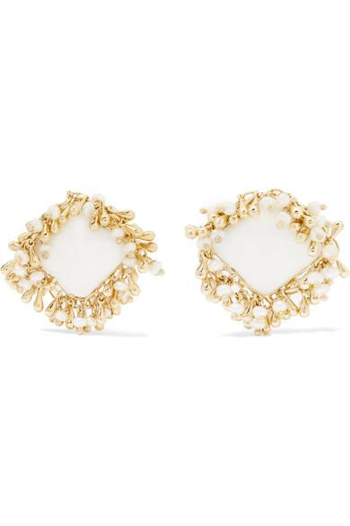 Rosantica - Flapper Gold-tone Multi-stone Clip Earrings - White
