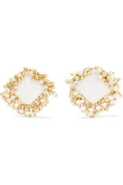 Flapper gold-tone multi-stone clip earrings