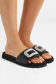 Slidy Viv crystal-embellished leather slides