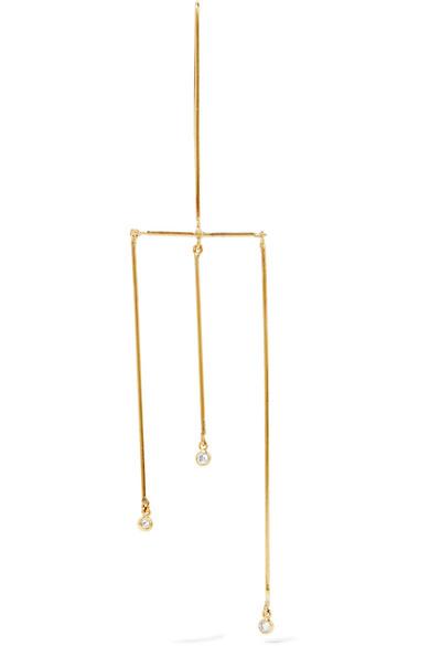 GRACE LEE TRI-LINEAR WHISPER MOBILE 14-KARAT GOLD DIAMOND EARRING