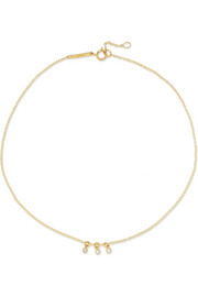 Dot 14-karat gold diamond anklet