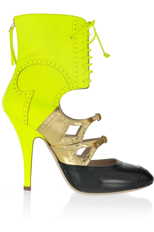 Miu Miu Lace-up cutout leather heels
