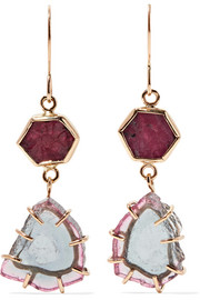 Melissa Joy Manning 14-karat gold, ruby and tourmaline earrings