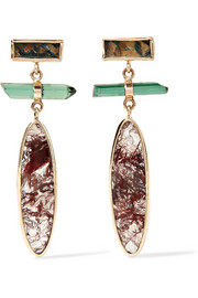 14-karat gold, sterling silver, agate and tourmaline earrings