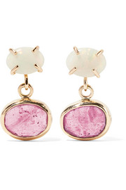 Melissa Joy Manning 14-karat gold, opal and sapphire earrings