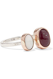 14-karat gold, sterling silver, ruby and opal ring