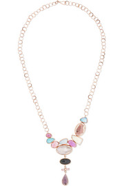 Collier en or rose 14 carats et pierres multiples