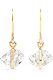 Boucles d'oreilles en or 14 carats et diamants d'Herkimer