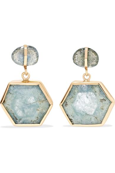 Melissa Joy Manning 14-karat Gold, Carnelian And Aquamarine Earrings