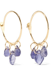 14-karat gold iolite hoop earrings