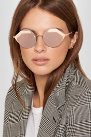 BVLGARI Serpenti round-frame rose gold-plated mirrored sunglasses