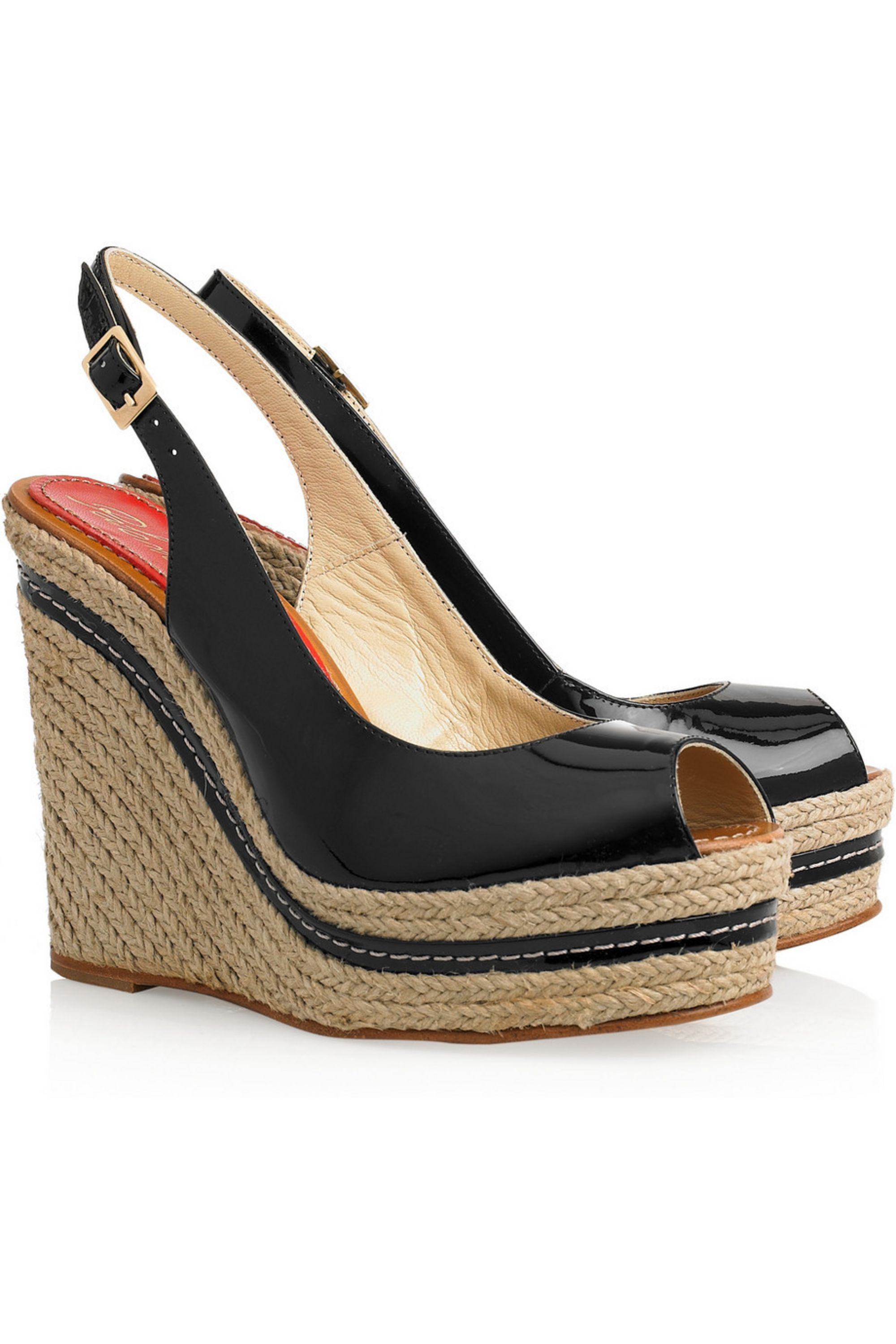 Paloma Barceló Lucy patent-leather espadrille wedge sandals
