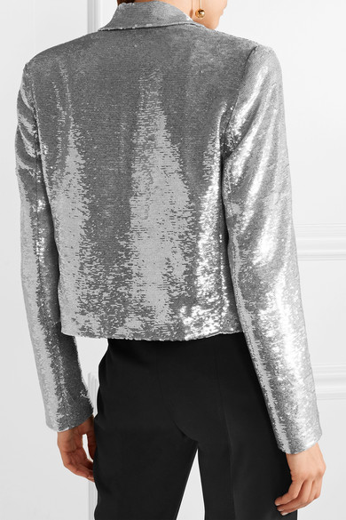 IRO Napli verkürzte Smoking-Jacke aus Baumwolle mit Pailletten