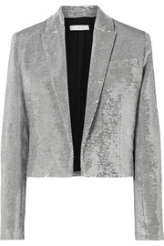 IRO Napli cropped sequined cotton tuxedo jacket
