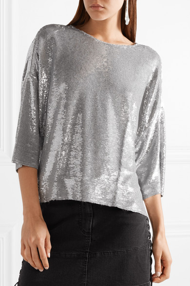IRO Naphe Oversized-T-Shirt aus Baumwolle mit Pailletten