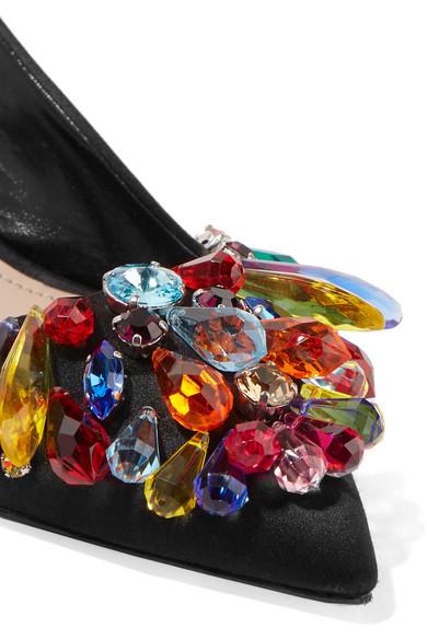 Miu Miu Pumps aus Satin mit Slingback-Riemen und Kristallen