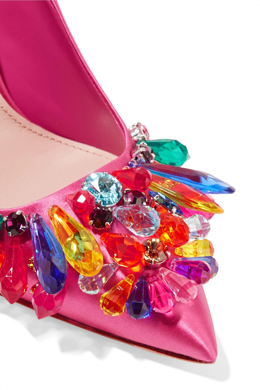 Miu Miu Crystal-embellished satin pumps
