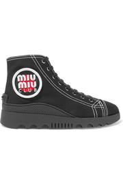 Miu Miu Logo-appliquéd canvas high-top sneakers