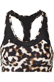 Chrissy mesh-trimmed leopard-print stretch sports bra