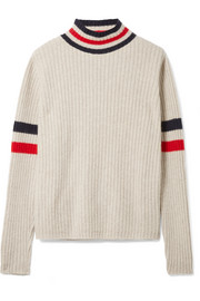 Odyssey striped ribbed cashmere turtleneck sweater