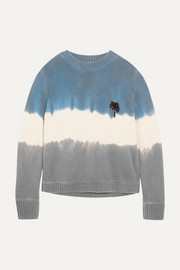Embroidered tie-dyed cashmere sweater